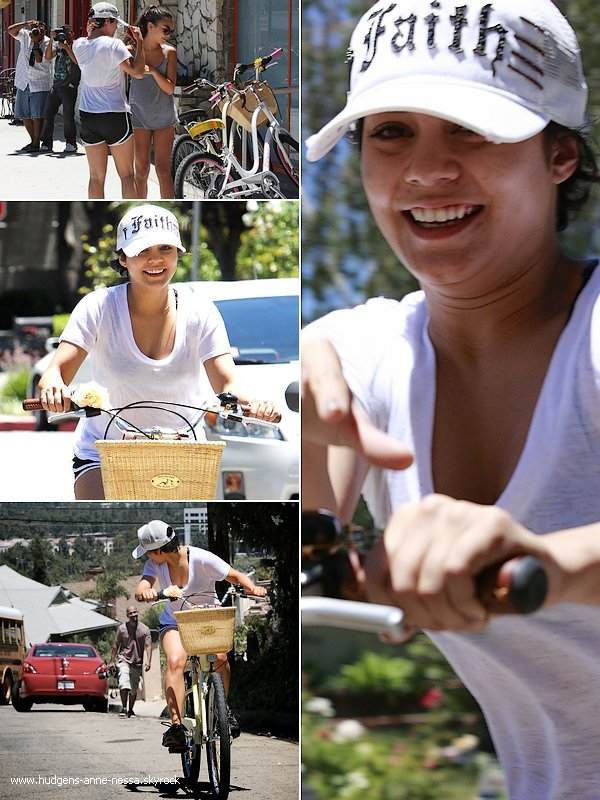 .  19 juillet : C'est une V. au naturel qui a profité de son retour à L.A suite au tournage de son film à NY _pour ______________partager un moment avec sa soeur alors qu'elles faisaient du vélo dans les hauteurs d'Hollywood .