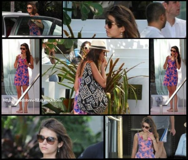 28 avril 2013:  Nina a passé la journée à la plage de Miami avec Julianne Hough et des amies