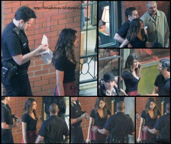 7 juin 2013: Ninaétait sur le plateau de tournage de Let's Be Cops à Atlanta