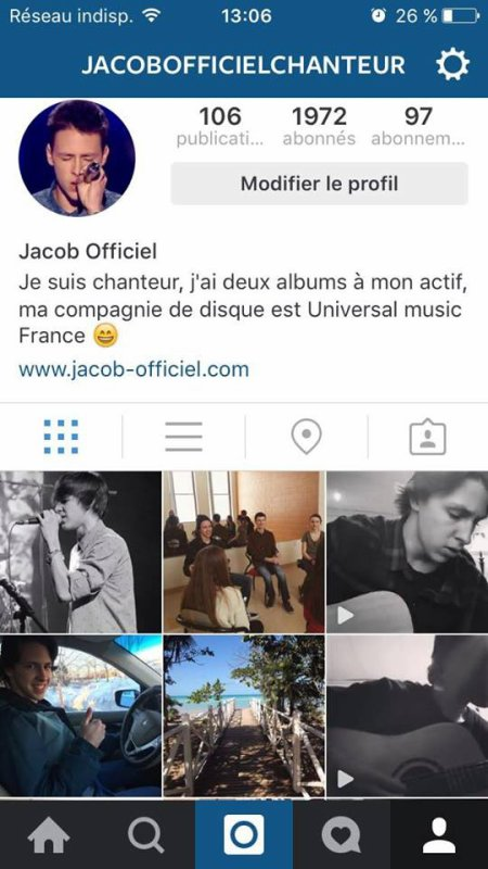 Instagram: Jacobofficielchanteur