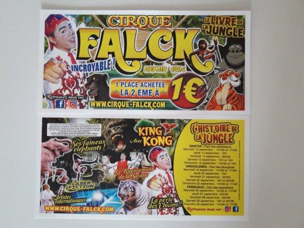 Le flyer du cirque Falck pour la fin du mois de septembre