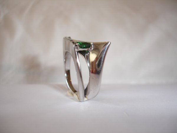 Bague tsavorite/diamants