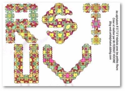 R S T U V en petites fleurs -in small flowers