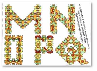 M N O P Q en petites fleurs -in small flowers
