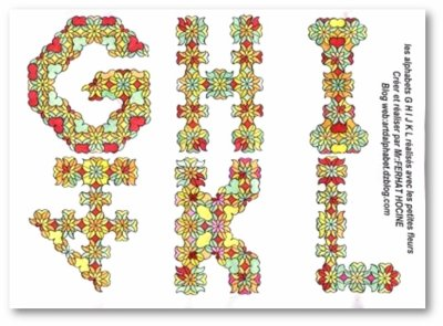 G H I J K L en petites fleurs -in small flowers