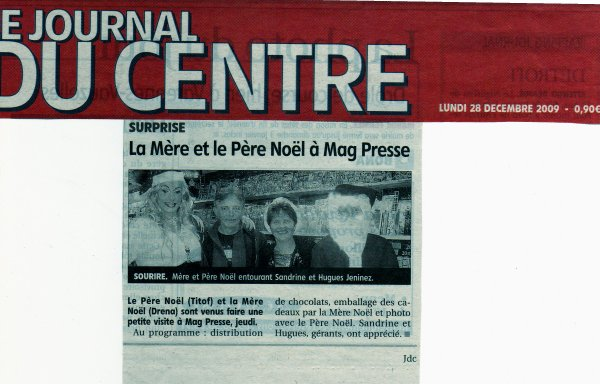 Animation au Magasin MAG PRESSE A COSNES le 24 Décembre 2009 pour Noël