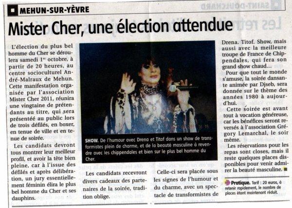 Soirée Publique, Election Mister Cher le Samedi 01 Octobre 2011