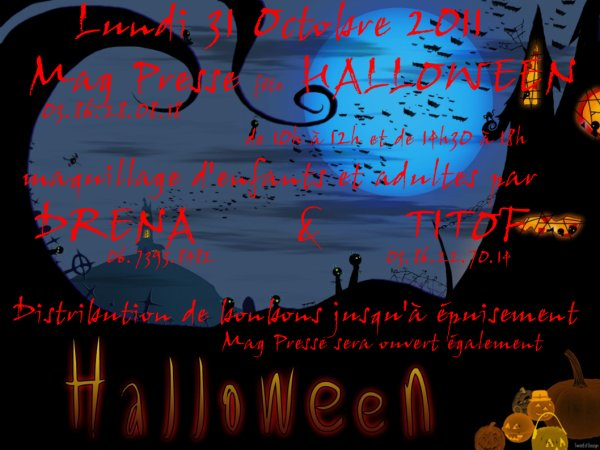 Animation maquillage pour enfants et adultes au MagPress à Cosne sur Loire pour Halloween, le 31 Octobre 2011