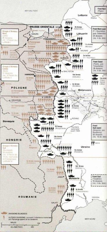 10- force en présence et ordre de bataille de la Wehrmacht et alliés le 21 juin 1941 en début de soirée