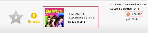 Les Be wiz'u sont 9eme au top 10 des meilleurs ventes de single en France et 9eme  & également au top 50 des meilleurs ventes de single dans le monde.   -    Skyrock ___Myspace ___ Facebook  __ Youtube  __ Newletters__ Article Présentation