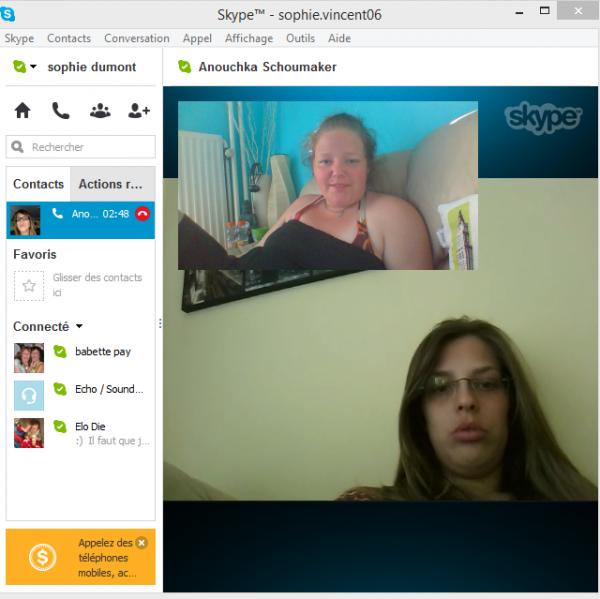 mOment sur skype avec ma best