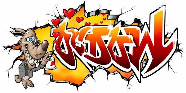 Graffiti Tag Lovely Wolf , Dessin de Loup gentil sur commande