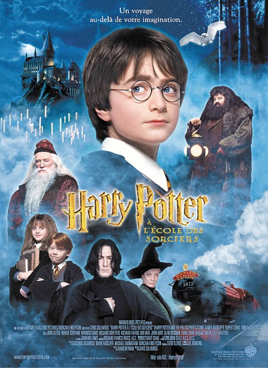 N°4 : Harry Potter  à l'école des sorcier - Harry Potter and the Philosopher's Stone - Par Chris Colombus France : 9 395 711 entrées - USA : 58 578 652 entrées -