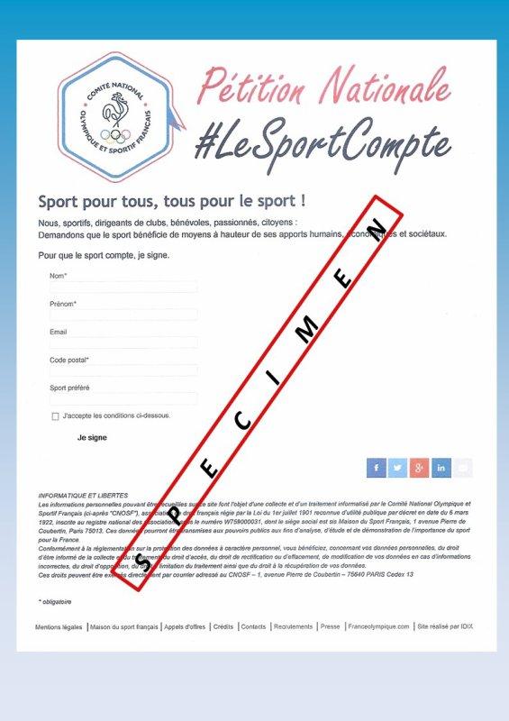"""Pétition du """"CNOSF""""  (Comité National Olympique et Sportif Français)"""