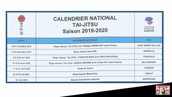 Calendrier Ffkda 2019 2020.Calendrier 2019 2020 De Notre Commission Nationale Tai