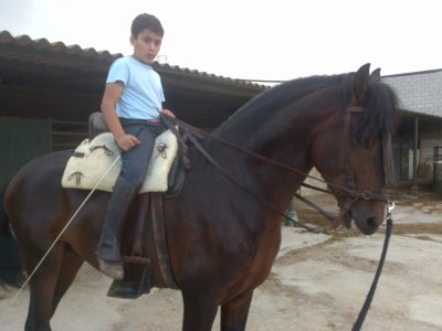 Mi otra gran aficion ( mi hijo david con jabalino su caballo español)