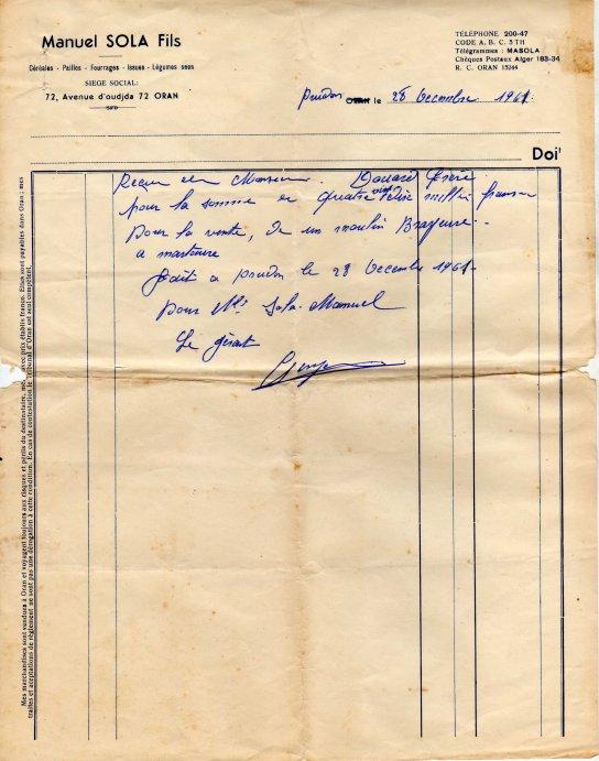Sidi Brahim-Prudon: Un moulin broyeur et sa facture 1961