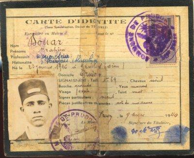 SIDI BRAHIM : Pièce d'identité + permis de conduire :1940