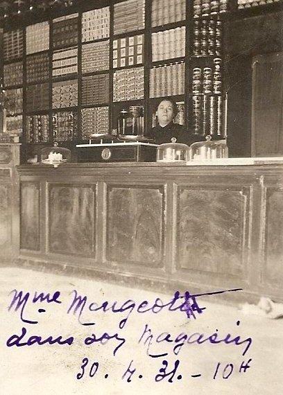 SIDI BRAHIM - PRUDON :Madame MAUGEOT dans son magasin 1931