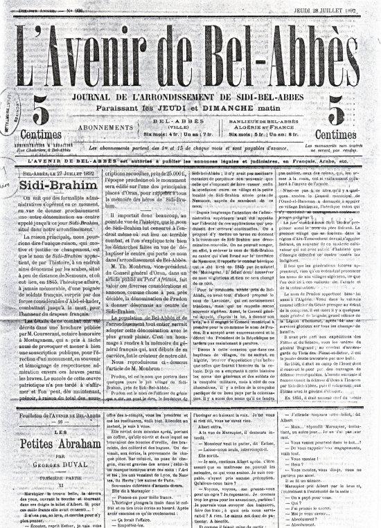 Prudon  sur le journal : L'avenir de Bel Abbès 1892