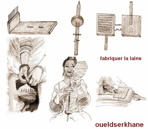 Sidi Brahim : La fabrication de la laine.