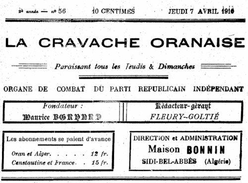 Sidi Brahim ( Prudon ) dans le journal : La Cravache Oranaise de 1910..Un maire qui ose défier un sous prefet