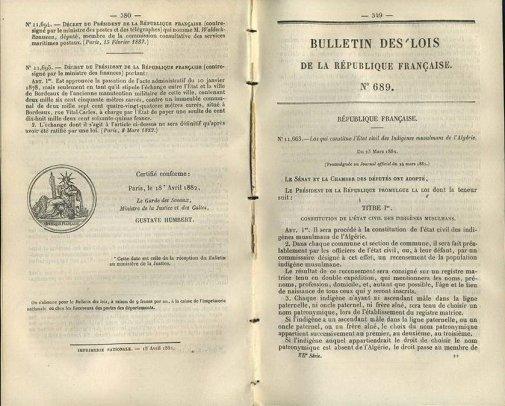 Recensement en Algérie : 1851 - 1877