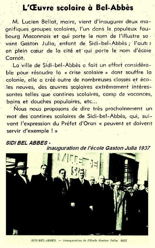 Sidi Bel Abbes : inauguration de l'école Gaston Julia 1937.