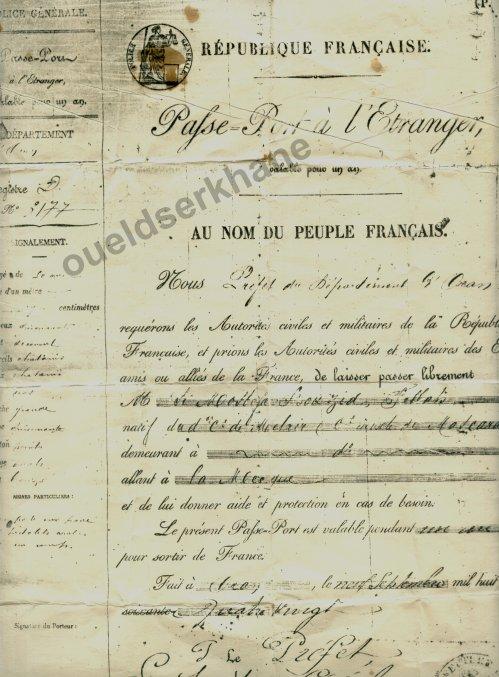Un Passeport de 1880. ----- Dr  DOUAR Hadj Benamar.