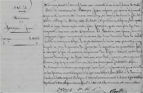 Joseph et Aicha :  L'Histoire d'un mariage mixte de 1852 .