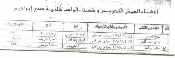 شهداء الوطن لبلدية سيدي ابراهيم