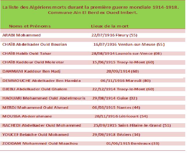 Ain El Berd : Les Algériens morts durant la guerre 14-18.