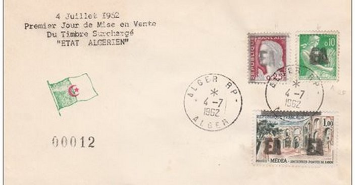 """04 juillet 1962 , premier jour de mise en vente du timbre surchargé """" ETAT ALGERIEN """""""