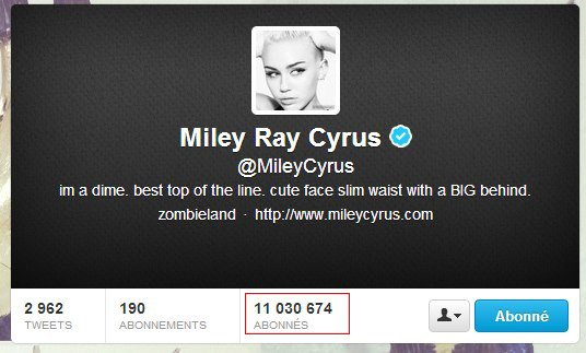 Miley Cyrus sur Twitter