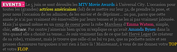 Article n°5/////Events (MTV Movie Awards)