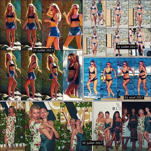 • juillet - aout 2017 || C'est photographier sur les plages de Grèce que notre belle blonde à été vu à Mykonos ! C'est accompagnée par des mannequins et amies que Lottie Moss à été aperçue à un événement toujours en Grèce.  •