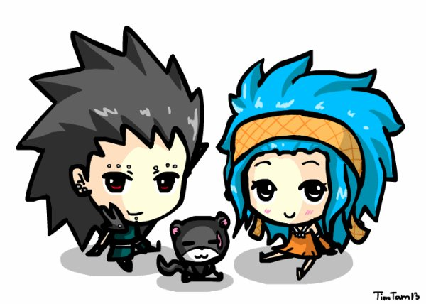 Gajeel, Levy et panther lily