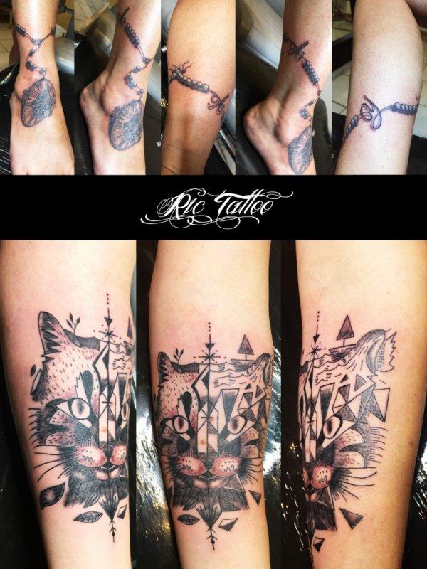 Ric Tattoo 06.19.88.58.27 / 04.91.50.80.04 /// Chapelet / Horloge / Montre a gousset. Chat géométrique.