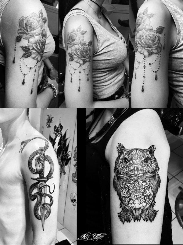 Ric Tattoo 06.19.88.58.27 / 04.91.50.80.04 /// Fleur / Bras / Roses / Serpent / Chouette / Hibou.
