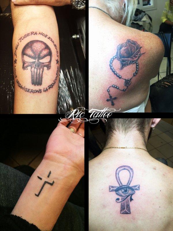 Ric Tattoo 06.19.88.58.27 / 04.91.50.80.04 /// Punisher / Rose / Bouton de Rose / Chapelet / Croix / Crucifix / Croix de vie / Croix Egyptienne / Oeil d'Horus.