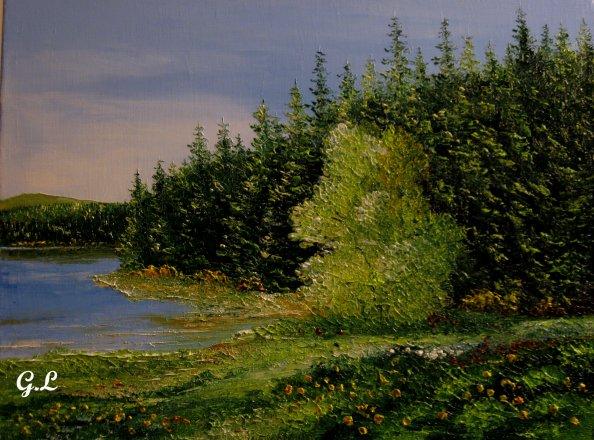 le lac ..toujours...toile de 35 cm X 27 cm