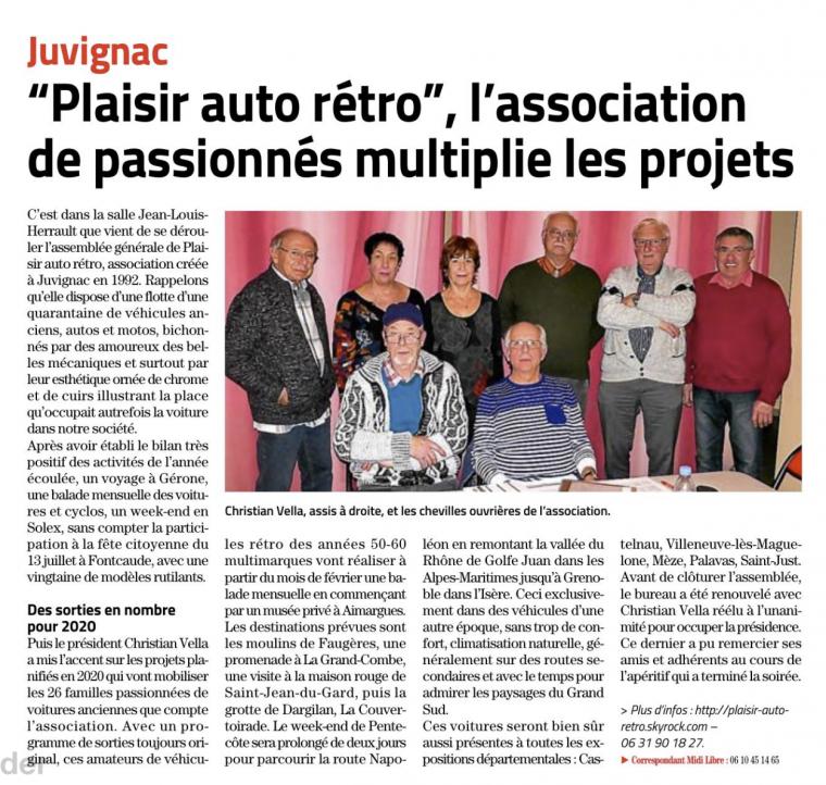 2020, 18 janvier : Assemblée générale à Juvignac