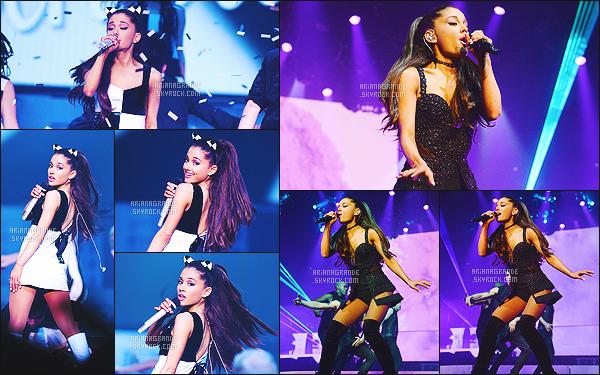 . 25/02/2015 : Ariana donnait' son premier concert pour le « HoneyMoon Tour », dans la ville Independence. Avant que le concert ne commence, la chanteuse a posé avec ses fans lors du Meet & Greet, malgré que les photos ne seront pas mise en ligne. .