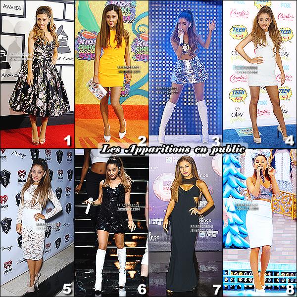 _________________________►►►_Récapitulatif des tenues de Ariana pour l'année 2014 !      Pendant toute l'année 2014, Ariana a enchaîné les candids puis les apparitions en publiques pour divers événement. Naturel ou bien maquillé, elle a su adapté son propre style vestimentaire qui lui va à ravir. Pour ma part pour les apparitions publiques mes coup de c½urs se porte sur les tenues 2 et 5, elle porte très bien c'est deux robes et leurs couleurs. Pour les candids le choix est plus difficile mes coups de c½urs se porte sur les tenues 2, 4 et 8 elle se différencie des autres tenues. Mais parmis toutes les tenues proposer, laquelle préfèrer vous ?  VOTE ICI : CANDIDS - EVENTS