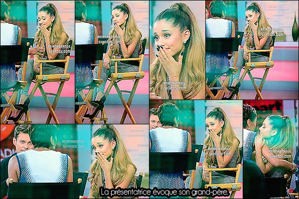 23/07/14 - Ariana Grande a accordé une interview sur les plateaux du : « Good Morning America », New-York.  Elle a fait preuve d'une très grande force en se rendant à cette interview, peu après le décès de son grand-père. Ariana essaye toujours de sourire...