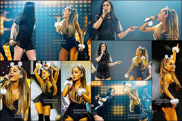 21/12/14 : Ariana Grande était présente au « Y100's Jingle Ball » au BB&T Center dans Miami (USA).  Comme toujours elle est magnifique ! J'adore la tenue qu'elle porte, elle est super jolie ! Elle à chanté au coté de la chanteuse Jessie J.