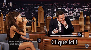 . 20/03/2015 : Ariana Grande était présente lors de l'émission    The Tonight Show présenté par Jimmy Fallon Très peu de sortie pour    Ariana G.  depuis le début de sa tournée qui ne fait que débuté. En attendant, découvrez son passage dans cette émission.  .