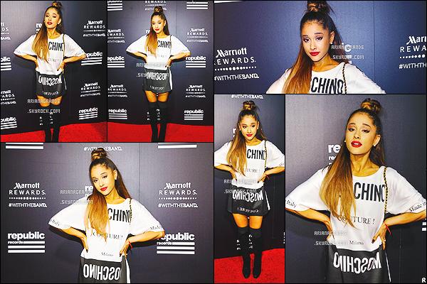 30/08/15 - Ariana à   l'after-party organisée par « Republic Records » qui est son label à West Hollywood !  Ariana Grande portait une robe Moshino. Elle était belle, mais un bof pour la robe sinon le reste est parfait. ENFIN une sortie pour la chanteuse !'