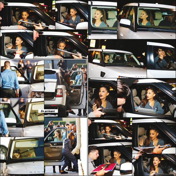 """''""""""""14.01.16''""""' ─ Ariana sortant des studios de  « Jimmy Kimmel Live », un célèbre talk show qui se déroule à LA. Toujours adorable avec ses fans, notre Ariana a signé quelques autographes et pris des selfies avec quelques privilégiés, qui l'attendaient à la sortie ! [/alig fen]"""