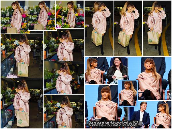 """'-'""""02.08.16''' ─ Ariana a été photographiée à la sortie du Whole Foods qui se situe dans la ville de Beverly Hills. Après avoir fait quelques courses, notre jeune chanteuse de 23 ans a été éblouie par les flashs des pap's qui l'attendaient à la sortie du supermarché ![/alig fen]"""